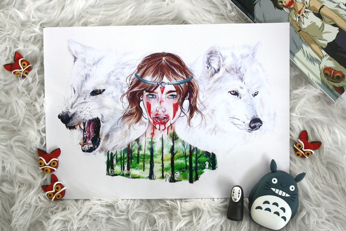I Do Realistic Portraits Of Ghibli And Disney Characters With Their Companions