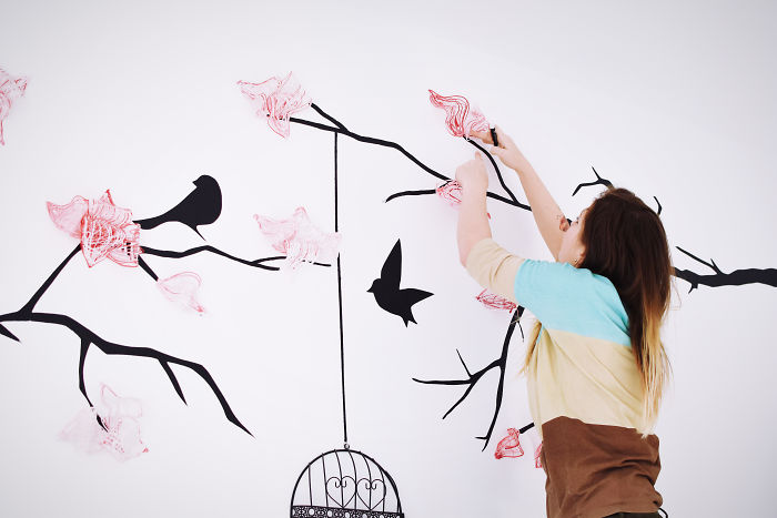 I Create 3D Magnolia Flowers On Walls Using Industrial Silicone