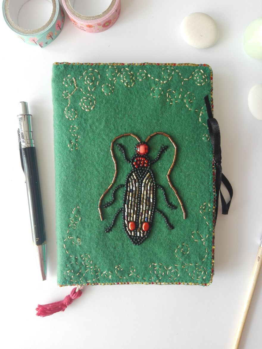 Hand Embroidery Beetle Journal