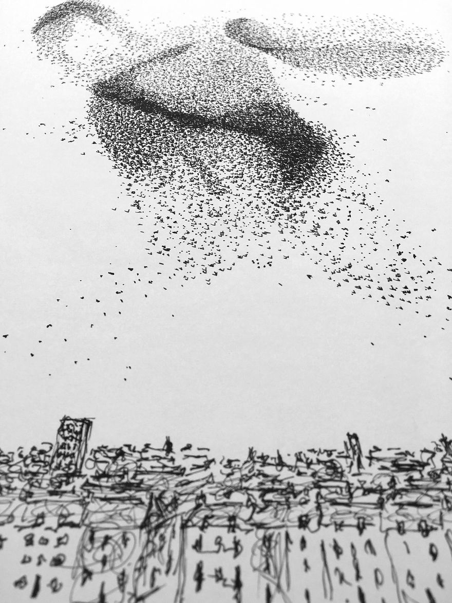 Author/dh >> Breathtaking Starling Murmurations Put To Paper Using