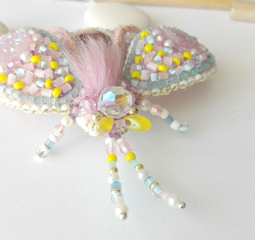 Yellow - Light Pink Fantasy Insect Brooch