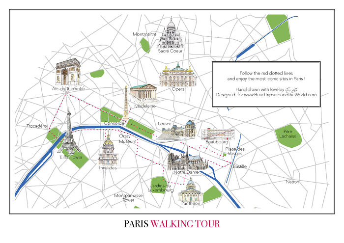 I Created A Walking Tour Map Of Paris To Help You Discover All The Most Iconic Landmarks Of The City