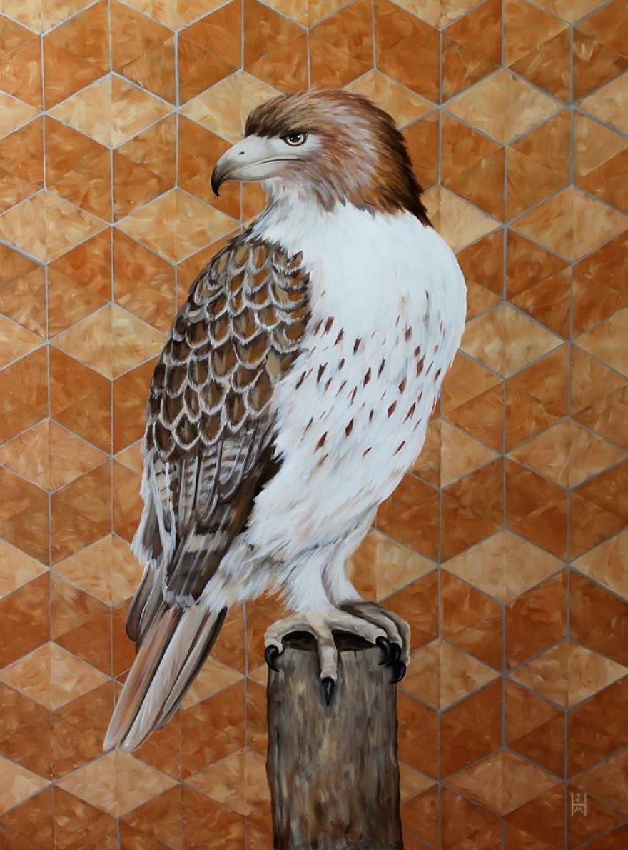 Red Tailed Hawk With Copper Pattern-original Acrylic Paint On Canvas