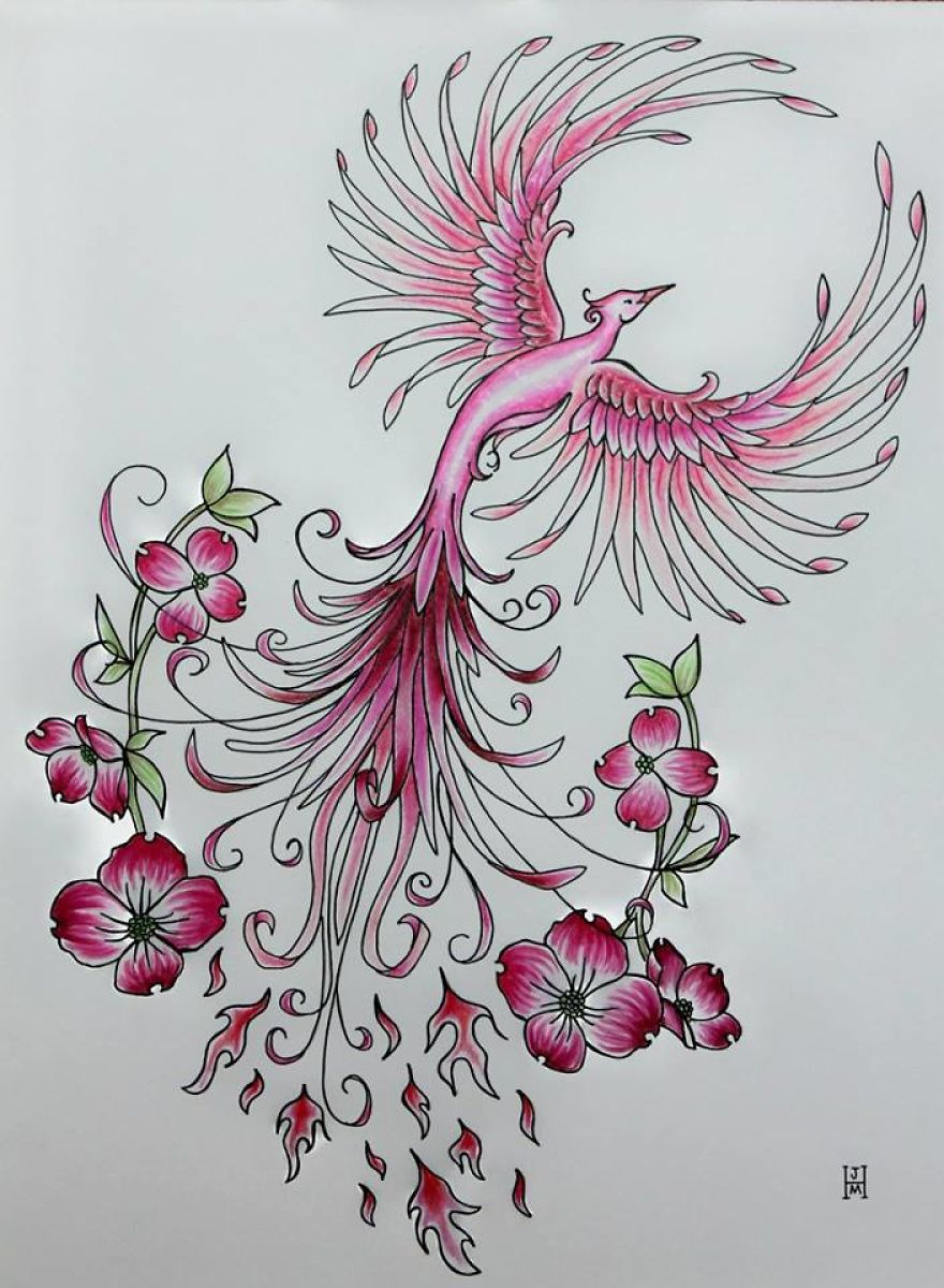 Pink Phoenix- Freehand Pen And Ink Original