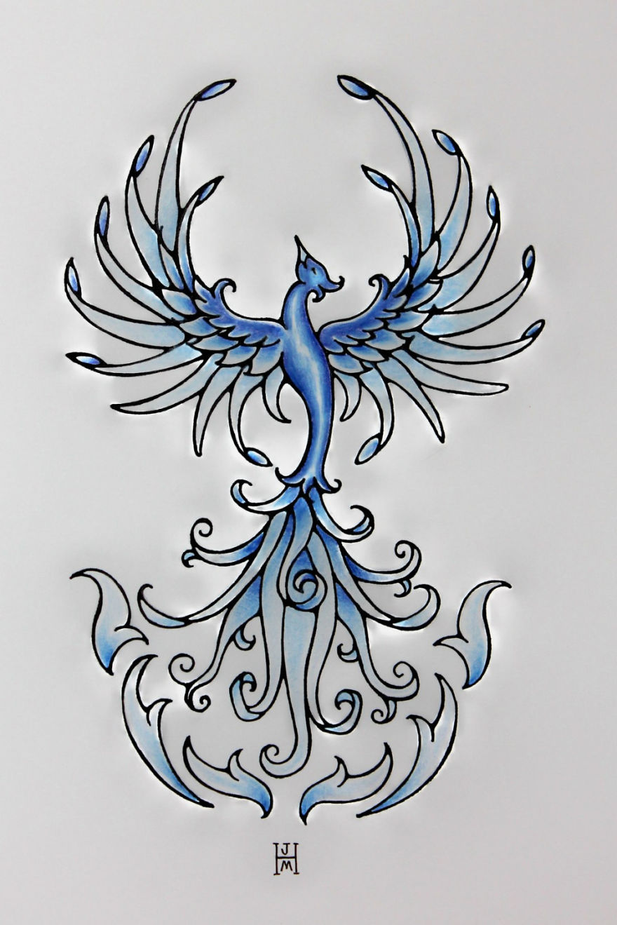 Blue Phoenix- Freehand Pen And Ink Original