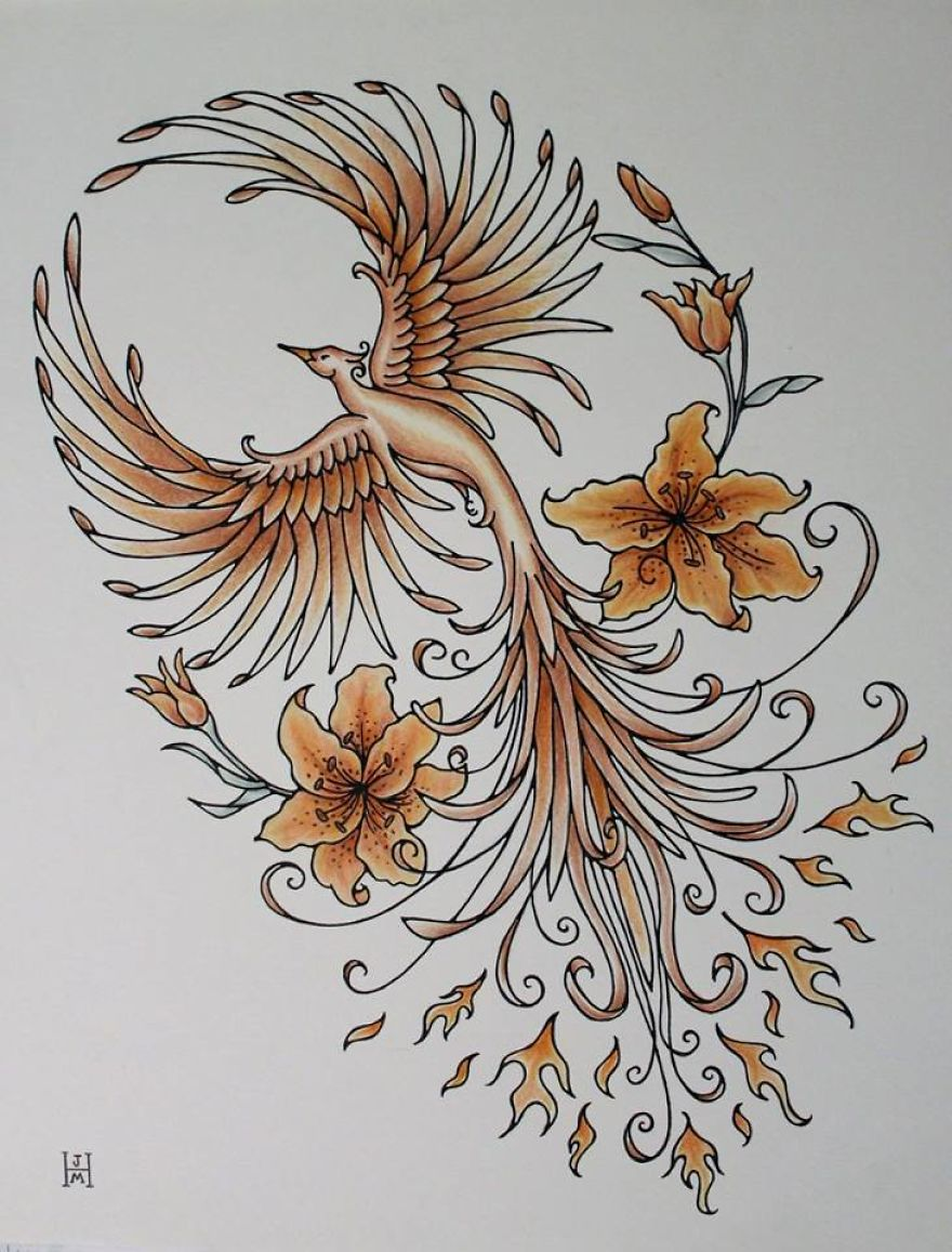 Copper Phoenix- Freehand Pen And Ink Original