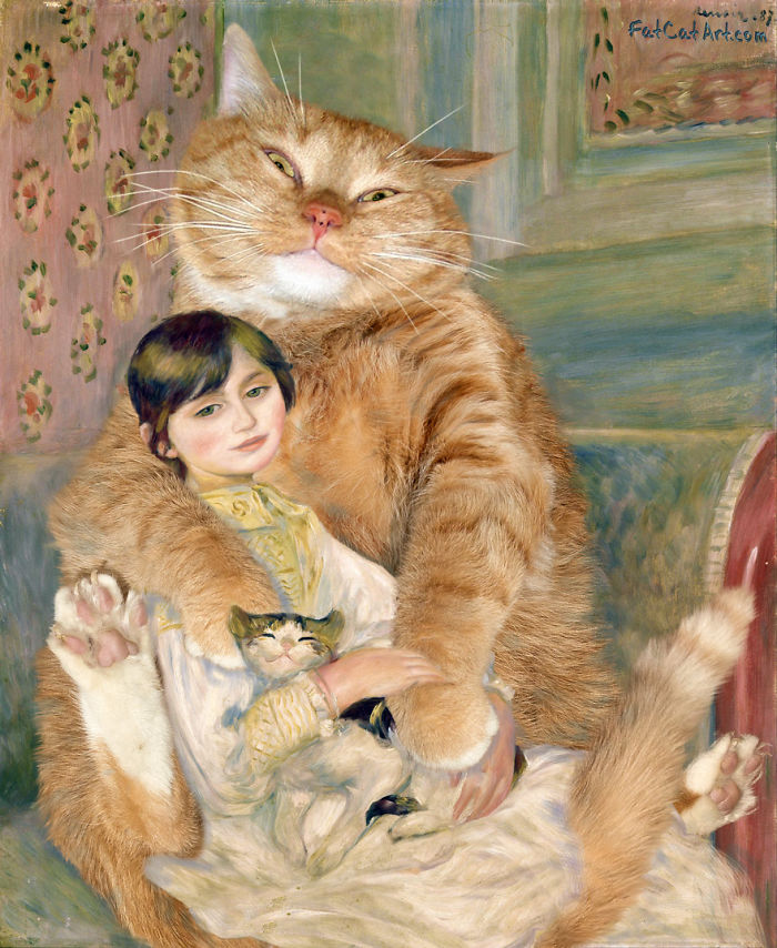 Pierre-august Renoir, The Cat With Julie Manet With A Cat