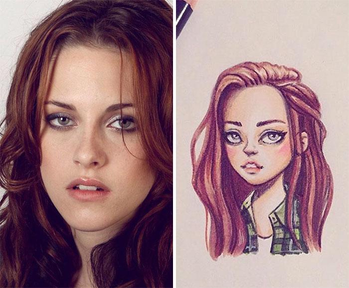 Russian Artist Draws Chic Portraits-cartoons Of Celebrities