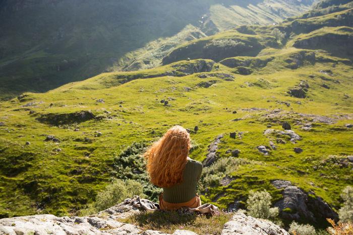 Kirstie Overlooking The Scottish Highlands Of Glencoe