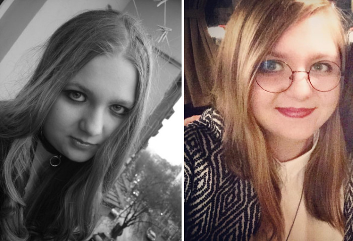 Picture On The Left: I'm 16, I'm Listening To Deeply Depressing Gothic And Industrial Music, Wearing Always Black. On The Right: I'm 27 And A Bit Happier. Still Listening To Rock And Metal.