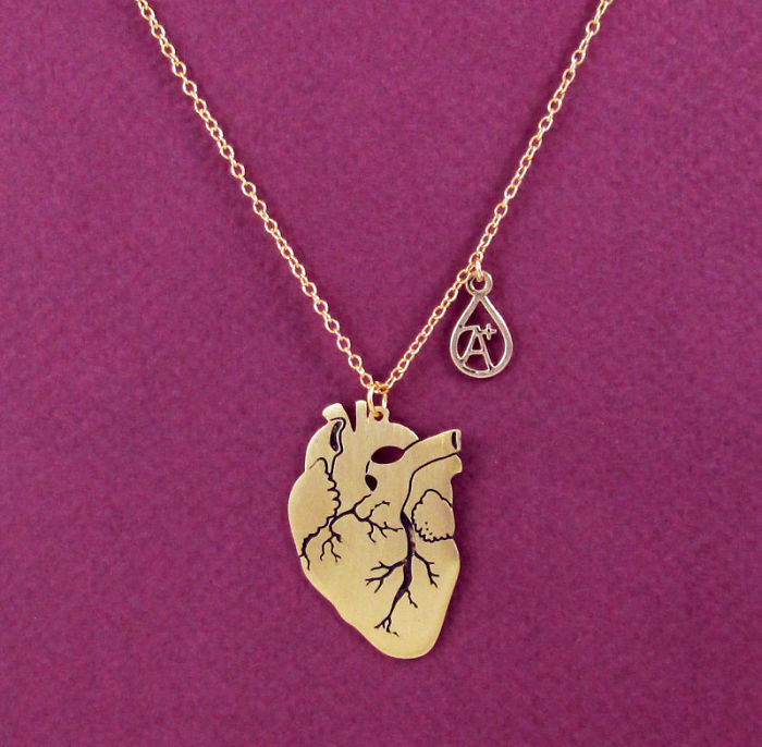 Anatomical Heart With Blood Type Drop