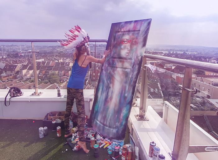 Time-Lapse Of Painting On A Rooftop By Annika Pixie
