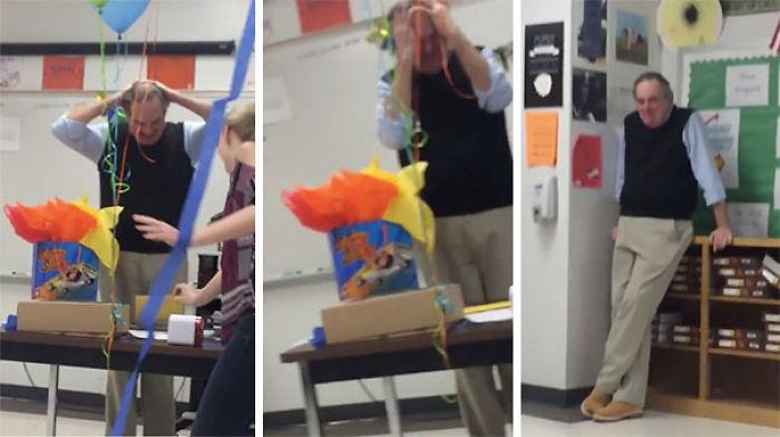 Este profesor se puso a llorar cuando sus alumnos le dieron una tarta de cumpleaños