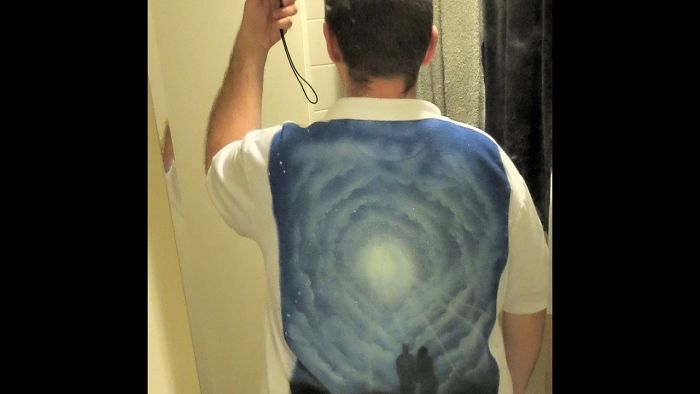 Shirt + Spray Paint Cans + Because I Can = A Shirt With A Lot Of Spray Paint On It.