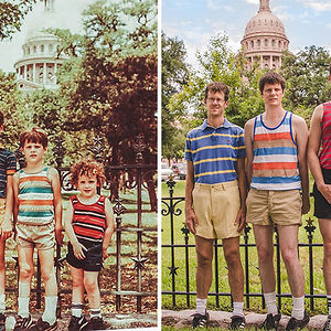 1984 And 2013. 29 Years Later, My Brothers And I Recreated Our Family Vacation Photo At The Texas State Capitol