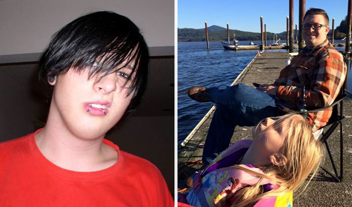 Before - Year 2005, My 18 Year Old Emo Self. After - Year 2015, I Am A Loving Father And Husband. What A Difference 10 Years Can Make
