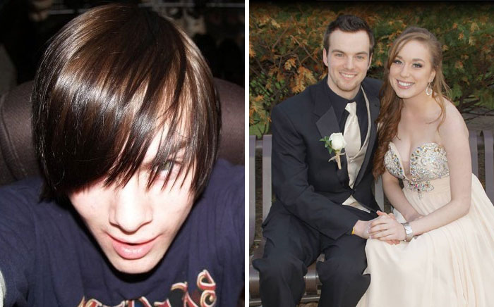 Then: Wow Look How Cool I Am With My Hair Over My Eyes. Now: Girlfriend's Senior Prom. Much Cleaner Cut. Massive Transition