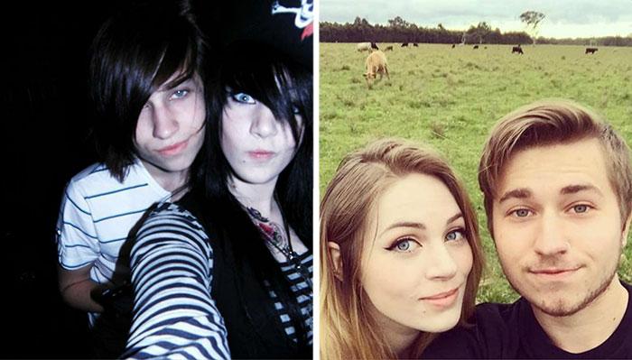 Mi novia y yo cuando nos conocimos siendo emos, y ahora