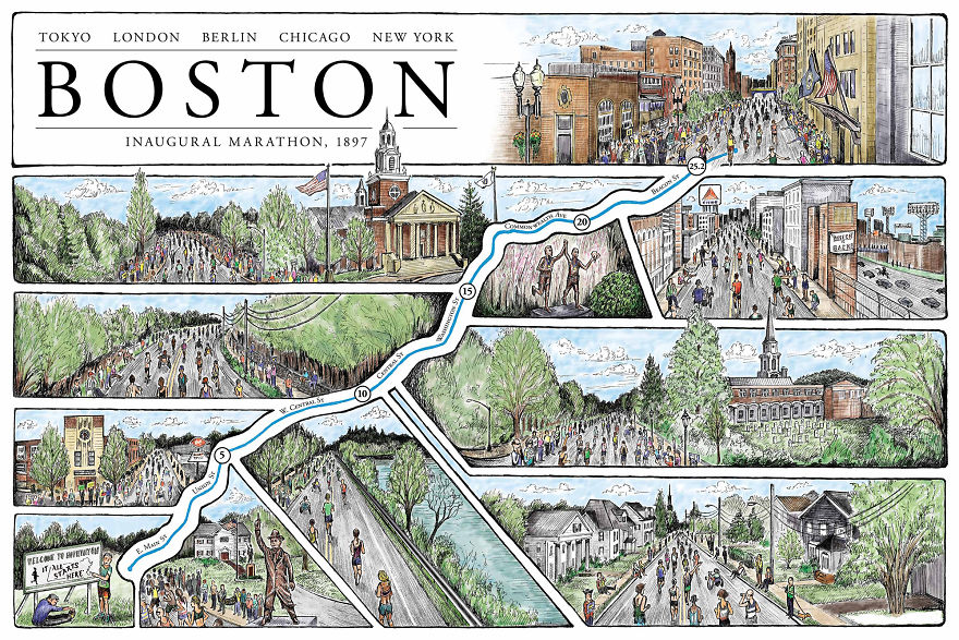 I Am A Runner Who Illustrates Maps Of Marathons From ...