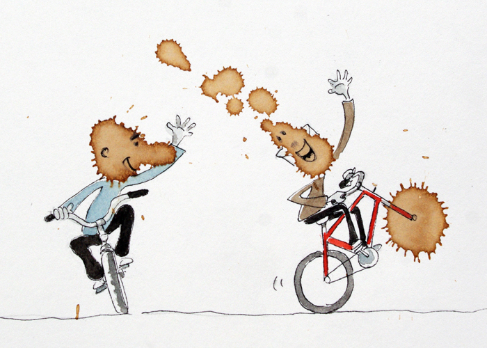 I Intentionally Spill Coffee On Paper And Look For Bicycle Stories In Them