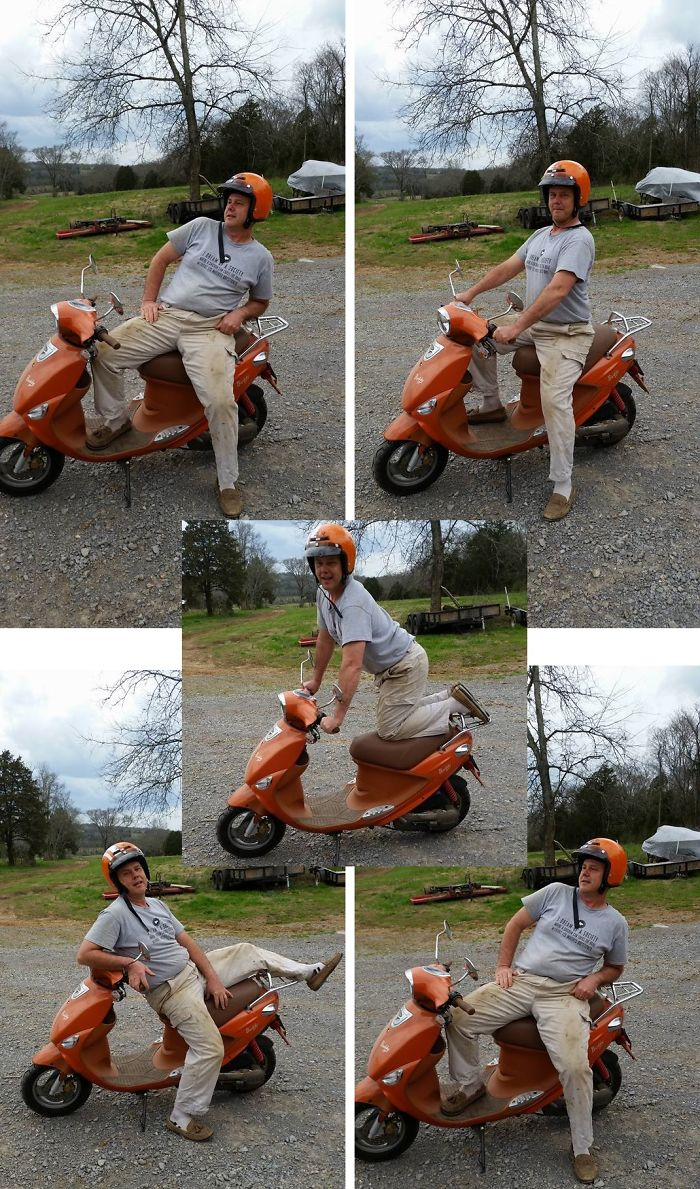 My Sister Shared Photoshoot Pics On Her New Motorcycle, So Our Dad Bought A Motorcycle And Posted His Pics, Too!