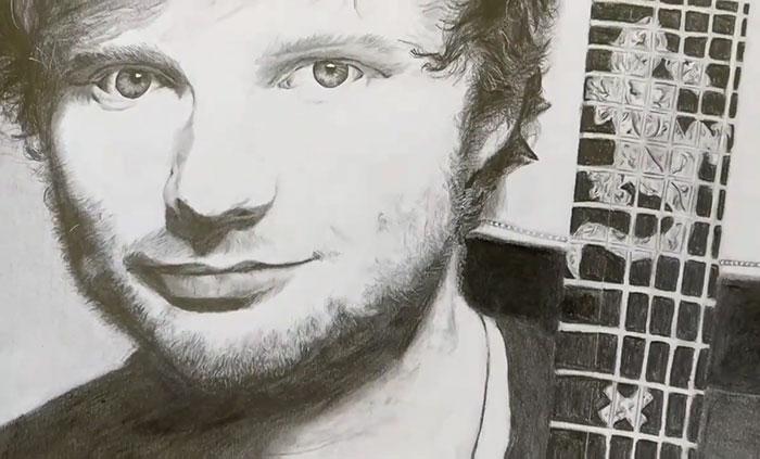 Ed Sheeran Drawing In Pencil & Charcoal