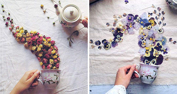 Poetic Scenes Of Teacups, Overflowing With Beautiful Flowers By A Russian Artist