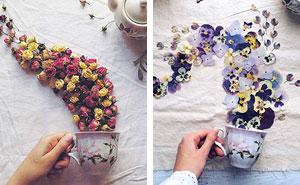 Poéticas escenas de tazas de té rebosando preciosas flores
