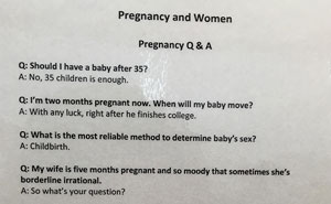 This Brutally Honest Pregnancy FAQ Sign On OBGYN's Wall Will Make You Laugh