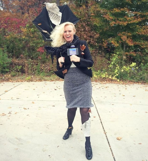 Weather Reporter Caught In A Hurricane. No Real Wind Involved