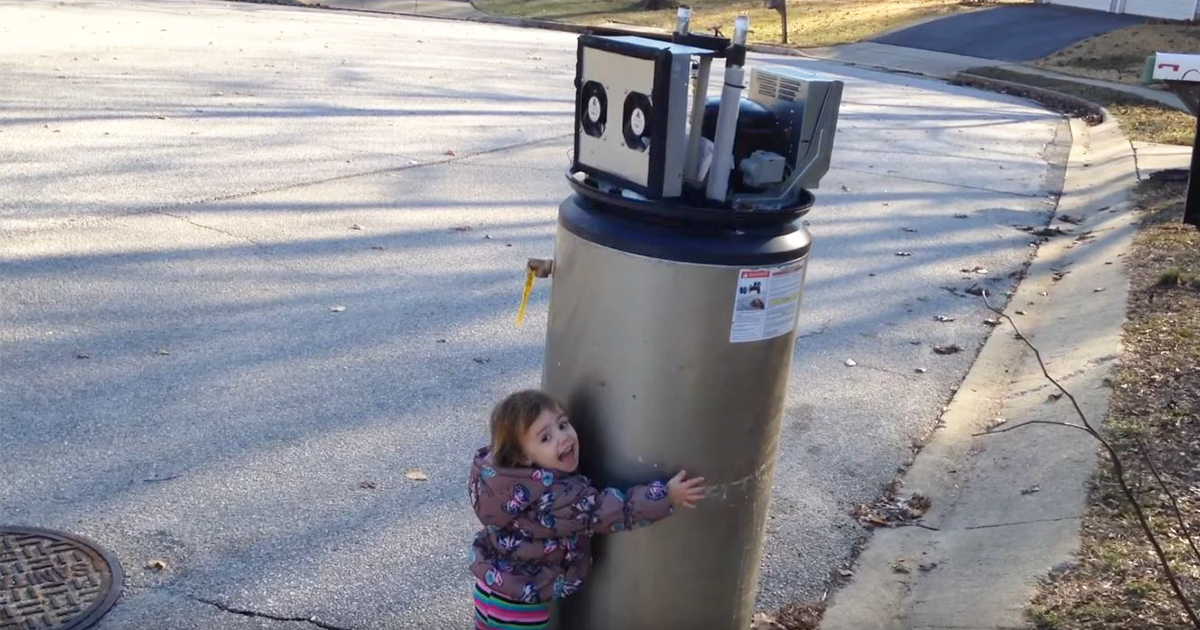 Little Girl Falls In Love With Abandoned Water Heater ...