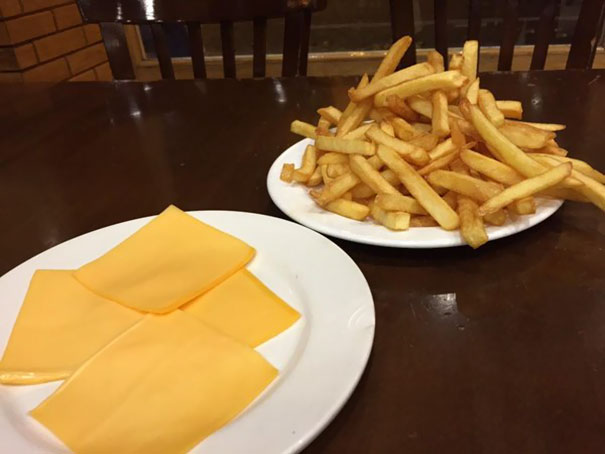 Just Ordered Chips With Cheese, Wasn't Expecting This But I Guess I Got What I Asked For