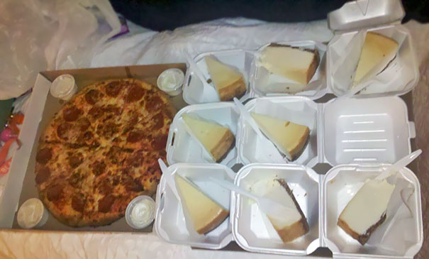 My Friend Ordered A Large Pizza With 8 Cheese Sticks. Apparently, The Lady On The Phone Heard Differently