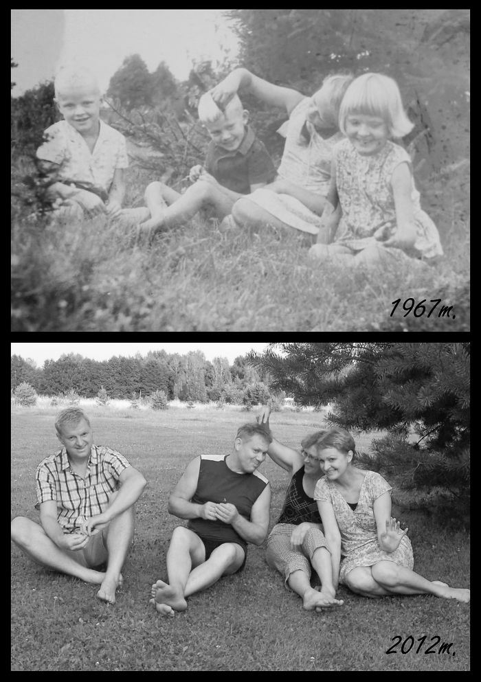 My Uncles And Aunts Recreating Pic From Summer 1967 On Annual Family Reunion! They Are So Gorgeous And So Much Fun!