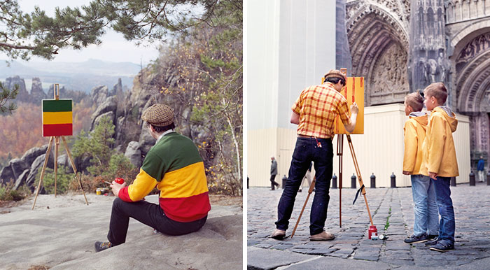 Artist Travels To Stunning Locations Only To Paint The Pattern Of His Shirt