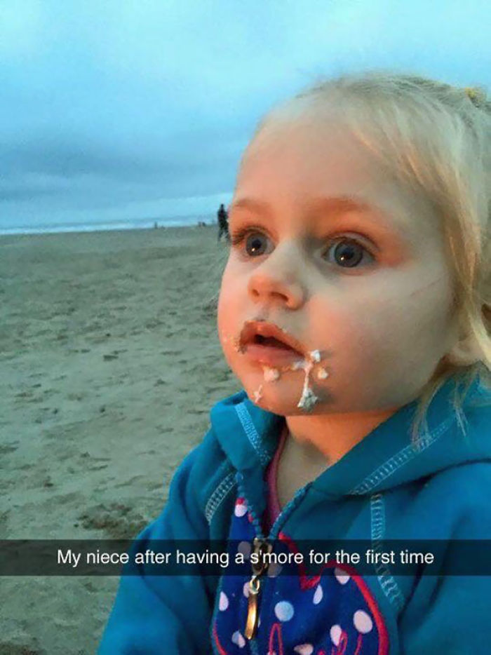 My Niece After Trying A S'more For The First Time