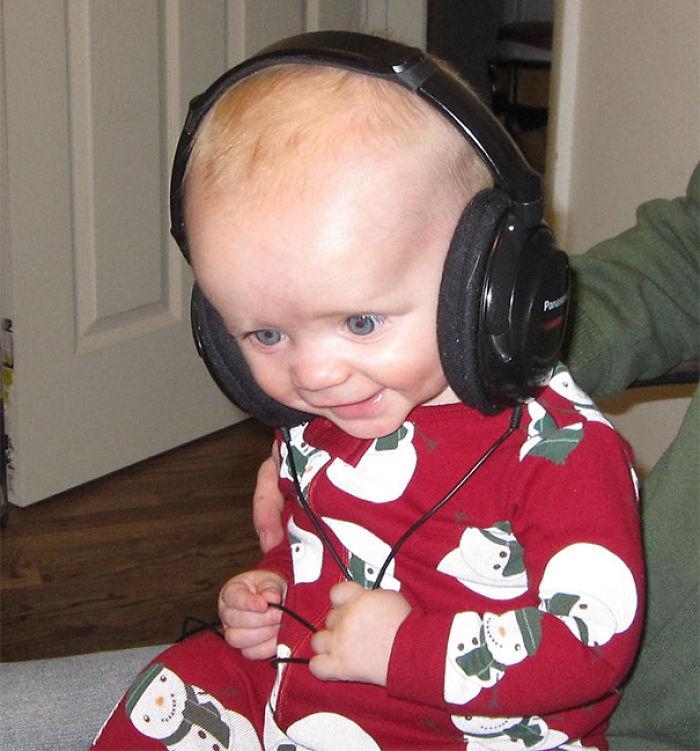My Son Wearing Headphones For The First Time