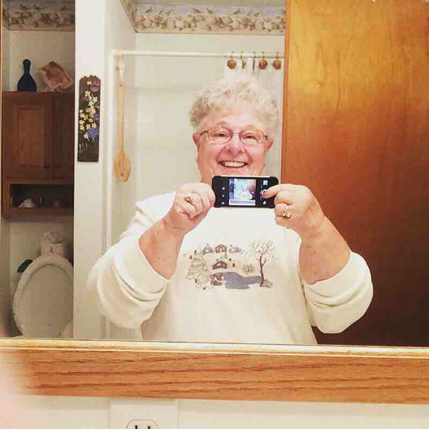 My Grandma Took Her First Selfie Today. Using The Front Camera To Take A Mirror Selfie