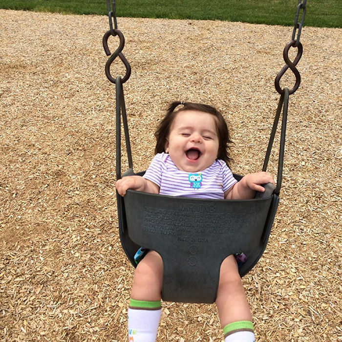 My Niece Experiencing A Swing Set For The First Time. Do You Even Remember This Kind Of Bliss?
