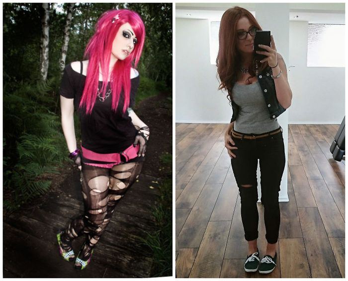Emo Days When I Was 20 Vs Now With 30. Changed My Lifestyle From Party Weekends And Junk Food To Family And That Gym Thing. Still Got My Piercings And Some More Ink ;)