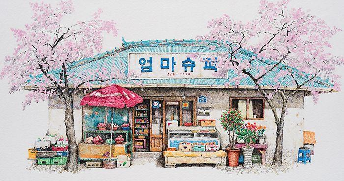 Esta artista ha pasado 20 años dibujando las pequeñas tiendas de Corea del Sur