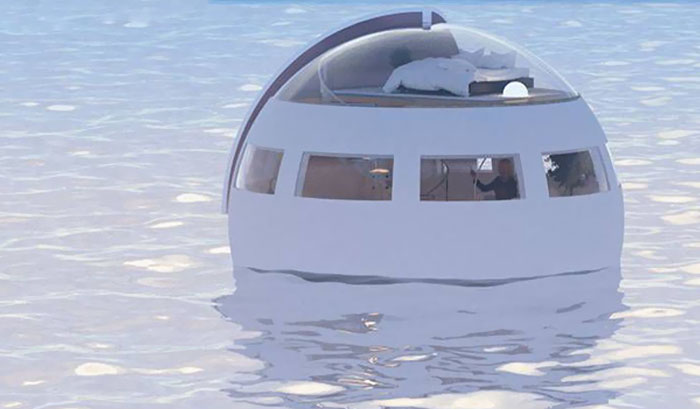 Would You Sleep In This Floating Capsule Hotel That Drifts To A Desert Island By Morning?