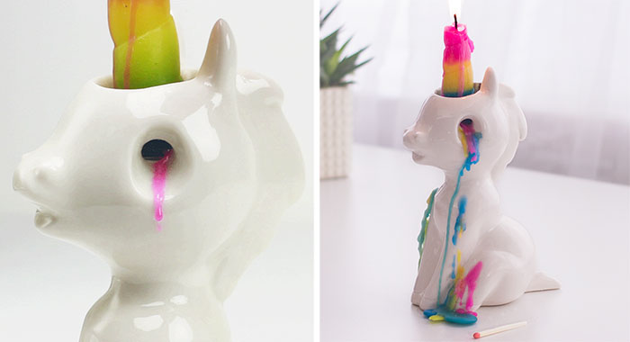 This Unicorn Candle Cries Waxy, Colourful Tears When You Light It