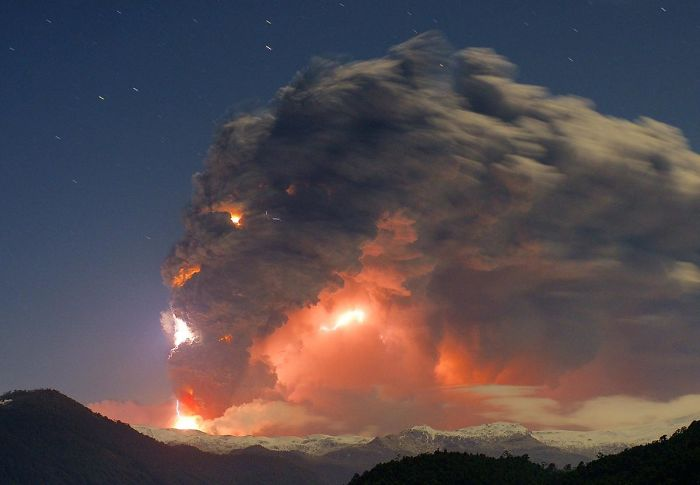 Eruption Of The Cordon Caulle, Chile. This Was Taken From Antillanca Mountain