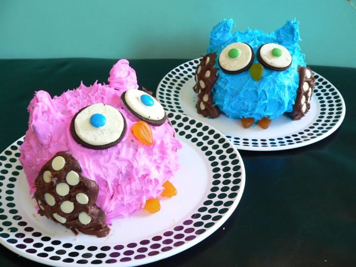 Made These Owl Cakes For My Twins' 1st Birthdays
