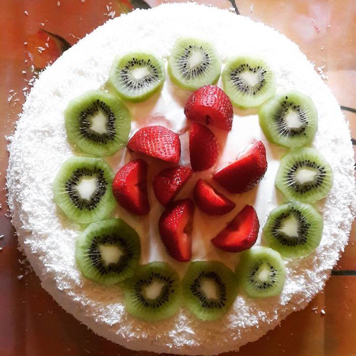 Cake With Jello, Fruit And Nuts