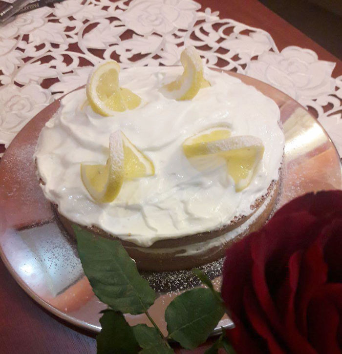 Lemon Cake With Cream And Lemon Zest