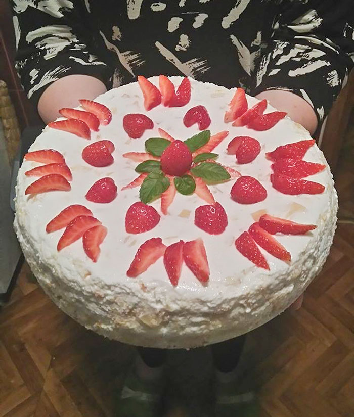 A Cheesecake That I Made For My Sister's Birthday, So Proud Of It!