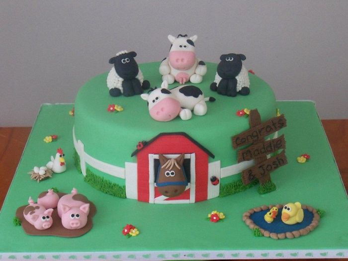 Baby Shower Cake I Made - Farm Yard Theme