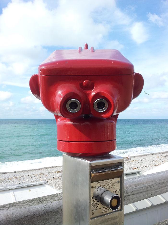 These Binoculars In Normandy Look Like A Monkey